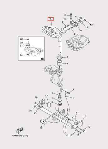 Кронштейн Рулевого механизма для лодочного мотора F9,9 Sea-PRO (22-3)