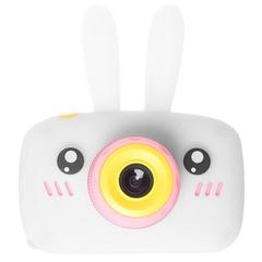 Детский цифровой фотоаппарат зайчик белый с силиконовым чехлом