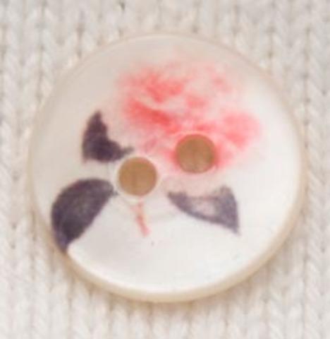 Пуговица с розочкой, роспись по перламутру, 15 мм
