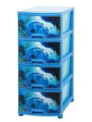 Комод №12 с рисунком ПОДВОДНЫЙ МИР 4-х секционный синий из пластика Эльфпласт 40х50х96 см