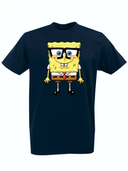 Футболка с принтом мультфильма Губка Боб Квадратные Штаны/ Спанч Боб (SpongeBob SquarePants) темно-синяя 002