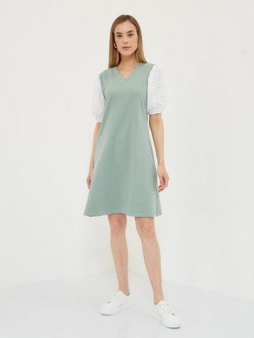 BM Платье трикотажное с шитьем Зеленый гранит