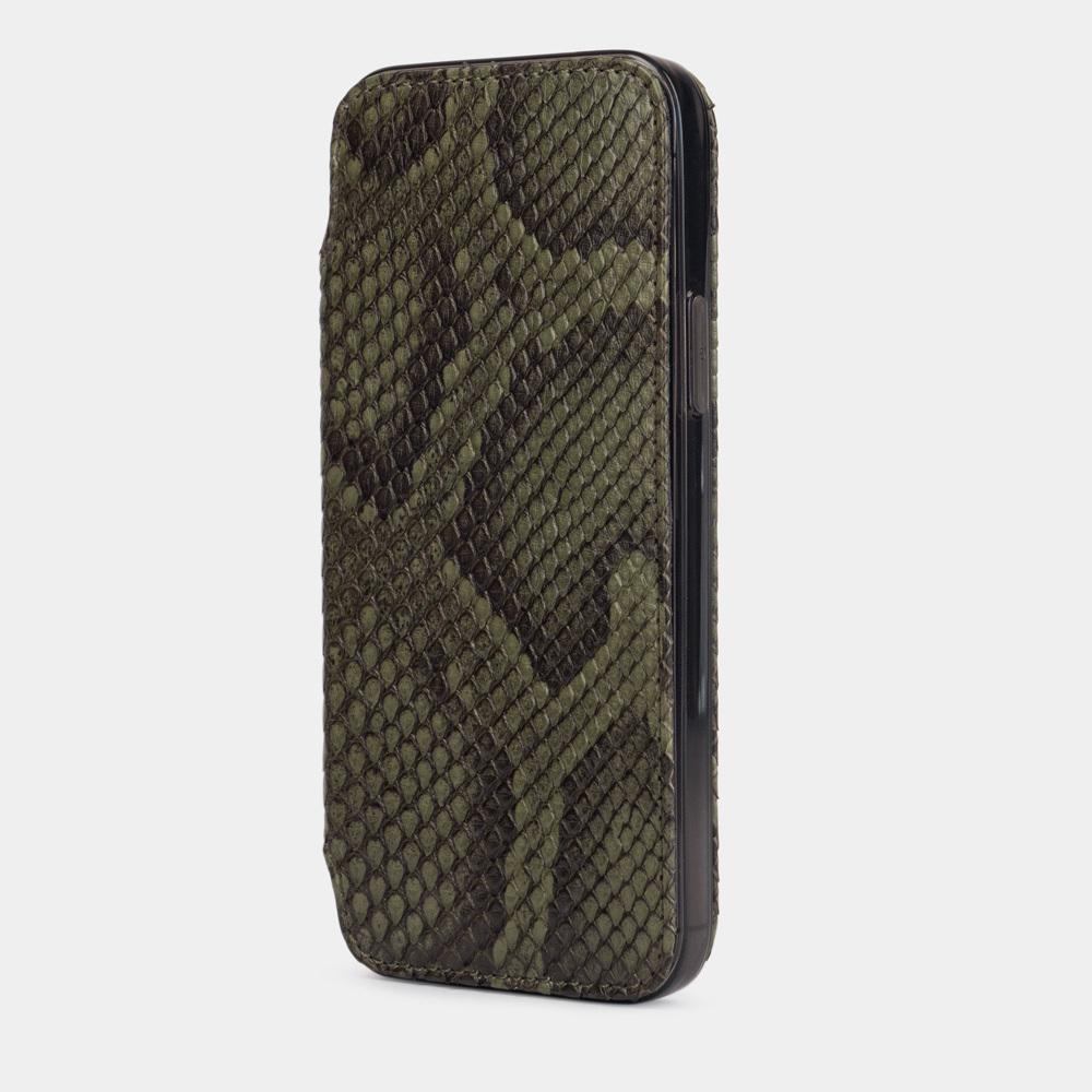 Чехол Benoit для iPhone 12 Pro Max из натуральной кожи питона, зеленого цвета