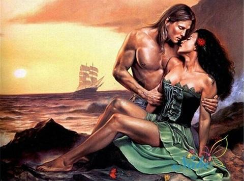 Алмазная Мозаика 40x50 Поцелуи на берегу
