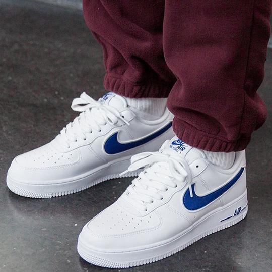 Nike Air Force 1 07 White Blue Swoosh