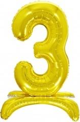 К Шар цифра (32''/81 см) , 3 на подставке, Золото, 1 шт. в упак.