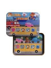 Развивающие пазлы в жестяной коробке SHAPES PUZZLE набор - ВИДЫ ТРАНСПОРТА - 56 элементов, 4 пазла