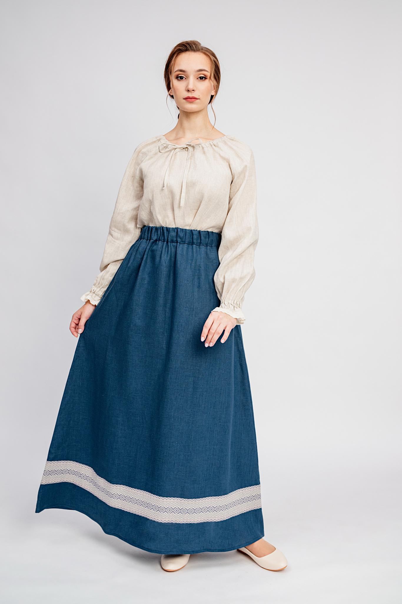 Льняная юбка Черника