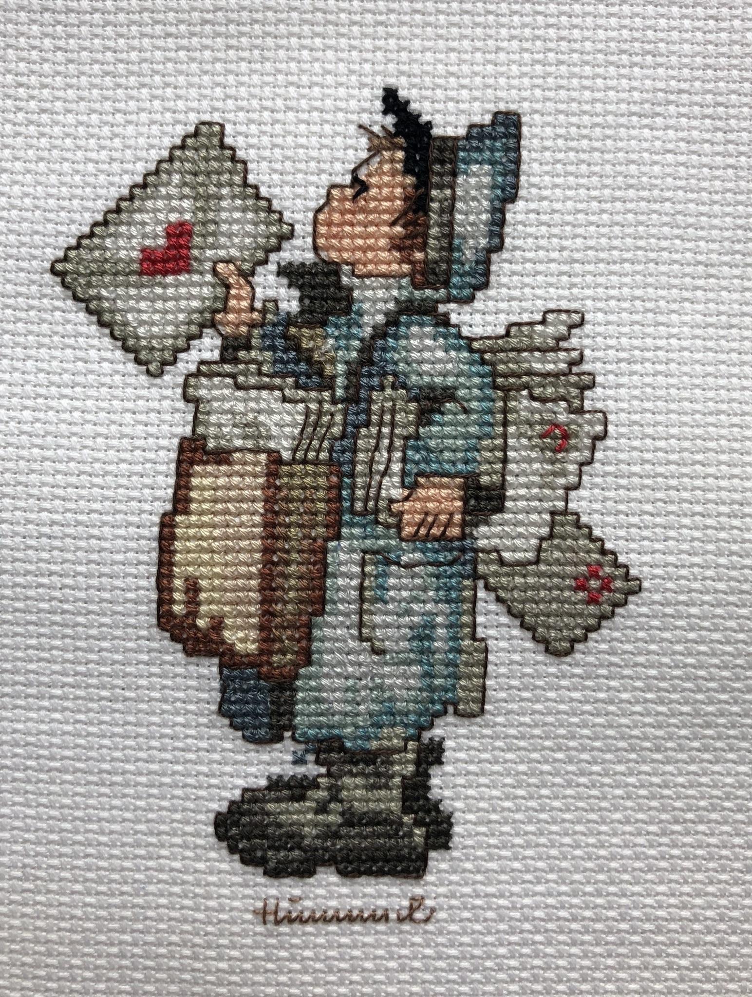 Наборы для вышивания с рамками Ангел со свечой и Почтальон