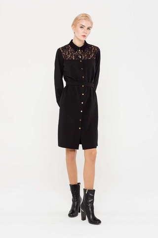 Фото черное платье-рубашка прямого силуэта с отделкой кружевом - Платье З385-393 (1)