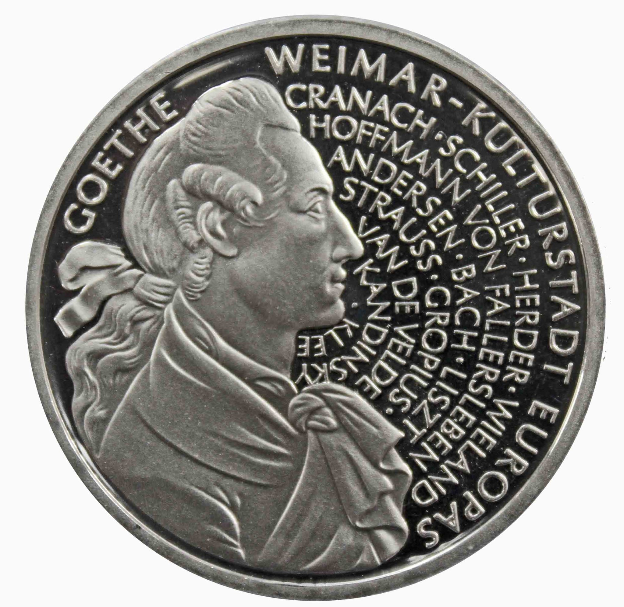 10 марок. 250 лет со дня рождения Иоганна Вольфганга фон Гете (J). Серебро. 1999 г. PROOF. В родной запайке
