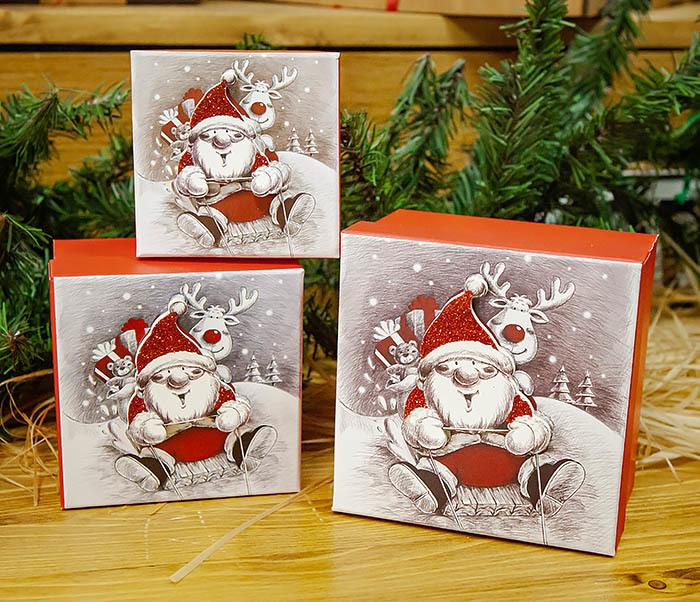 BOX260-2 Подарочная коробка «Дед Мороз на оленях» (11*11*8 см) фото 10