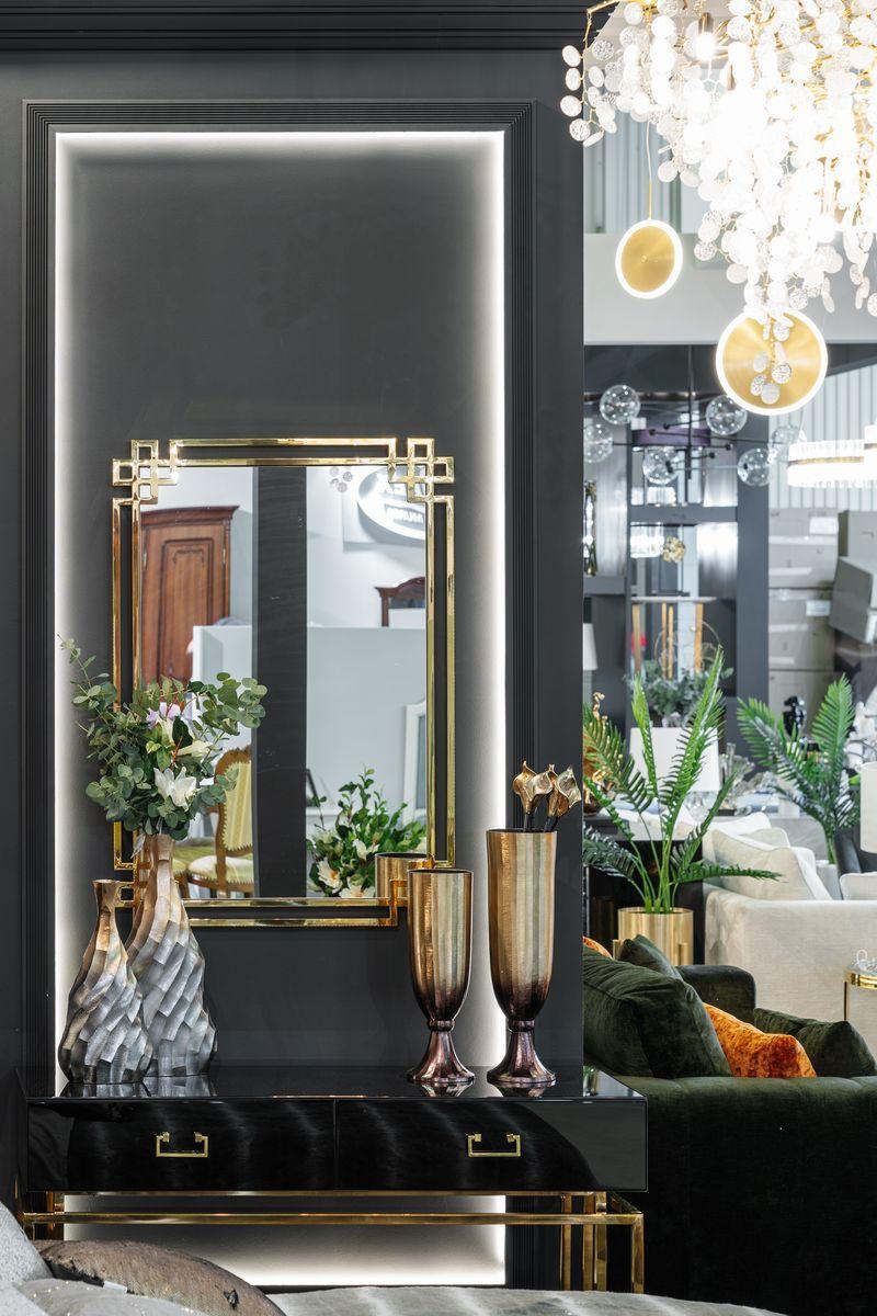 Консоль с ящиками черное стекло/золото (KFG058) Garda Decor