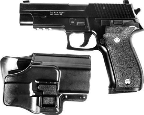 Страйкбольный пистолет Galaxy G.26+ SIG226 с кобурой металлический, пружинный