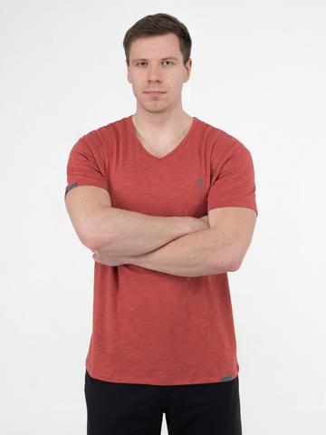 Мужская футболка «Великоросс» терракотового цвета V ворот