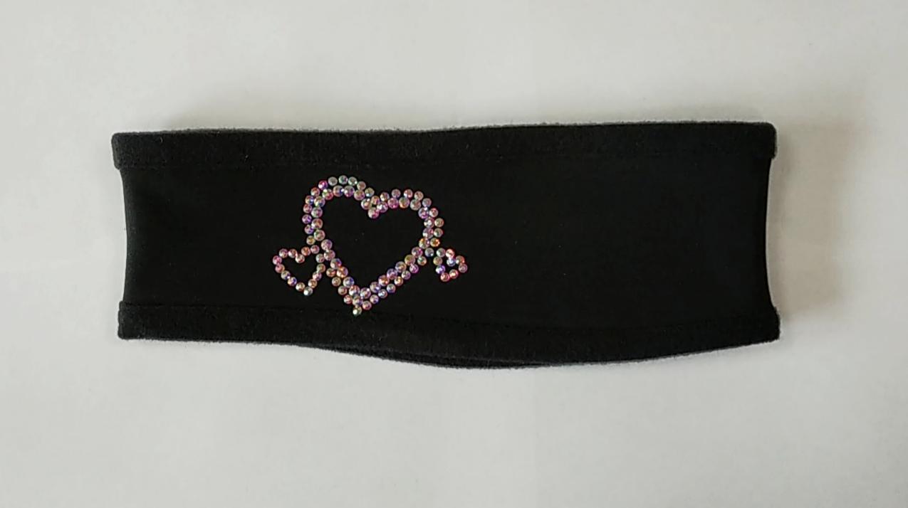 Повязка двойная из термоткани (чёрная) с аппликацией из страз сердечки