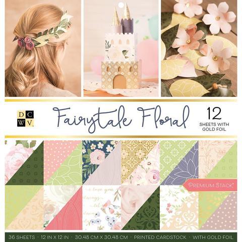 Набор двусторонней бумаги с фольгированием - 30*30 см DCWV Double-Sided Cardstock Stack- Faded Floral - 36 листов