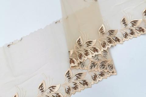 Вышивка на сетке, ПРАВАЯ, 21 см, бежевая/шоколад , (Артикул: VS-1010), м
