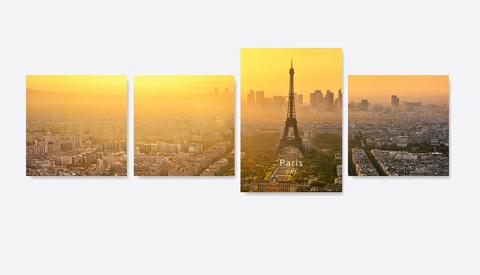 Картина на стекле четырёхмодульная Вечерний закат в Париже