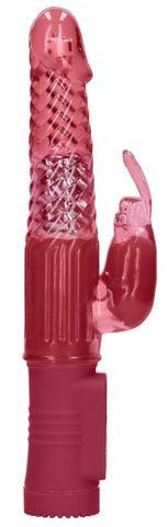 Красный вибратор-кролик Rotating Rabbit - 23 см.