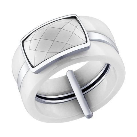 94011598 - Кольцо из белой керамики и серебра