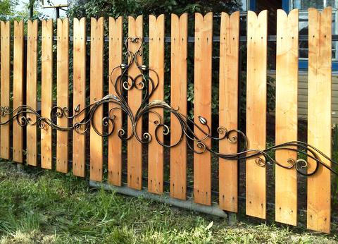 Ковано деревянный забор N-1