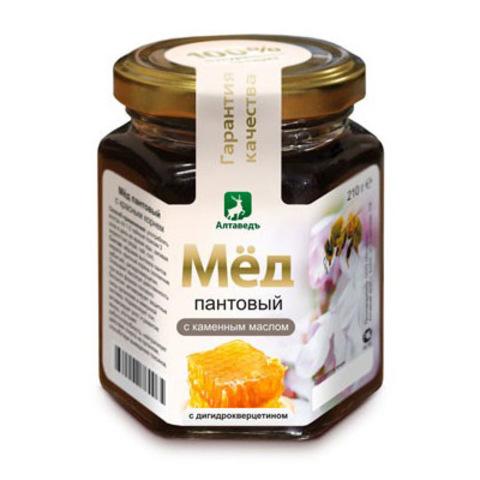 Пантовый мёд с каменным маслом и дигидрокверцетином Алтаведъ, 210г