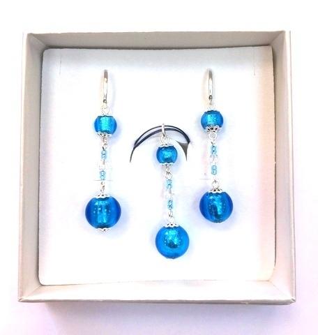 Комплект Primavera голубой (серьги, подвеска)