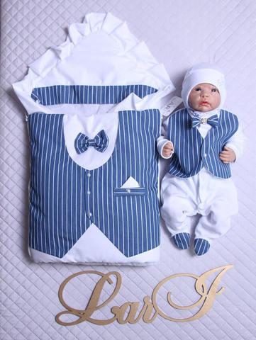 Набор на выписку из роддома Джентельмен (белый/синий полоска)