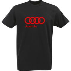 Футболка с однотонным принтом Ауди (Audi A4) черная 0045