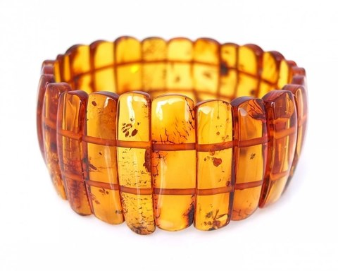 браслет из янтаря коньячного цвета