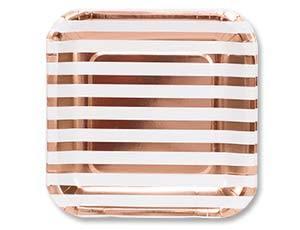 Тарелка фольгрованная розовое золото 23см 6шт