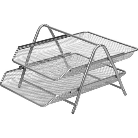 Лоток для бумаг горизонтальный Attache (2 уровня, металлическая сетка, 356x278x53 мм, серебро)