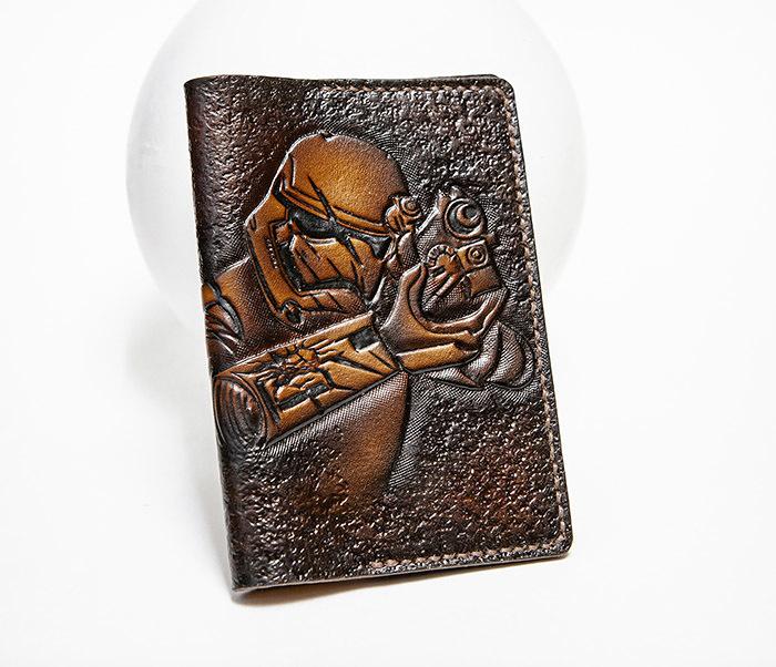 BC229 Кожаная обложка на паспорт «Штурмовик» («Звездные Войны»)