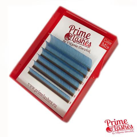 Ресницы Prime Lashes голубые, микс 6 линий