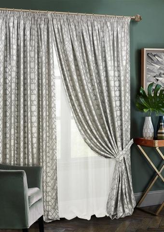 Комплект штор Алмаз с тюлем серый