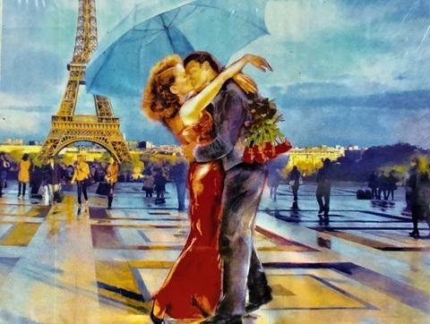 Алмазная Мозаика 40x50 Поцелуй влюбленных в Париже (арт. S016)