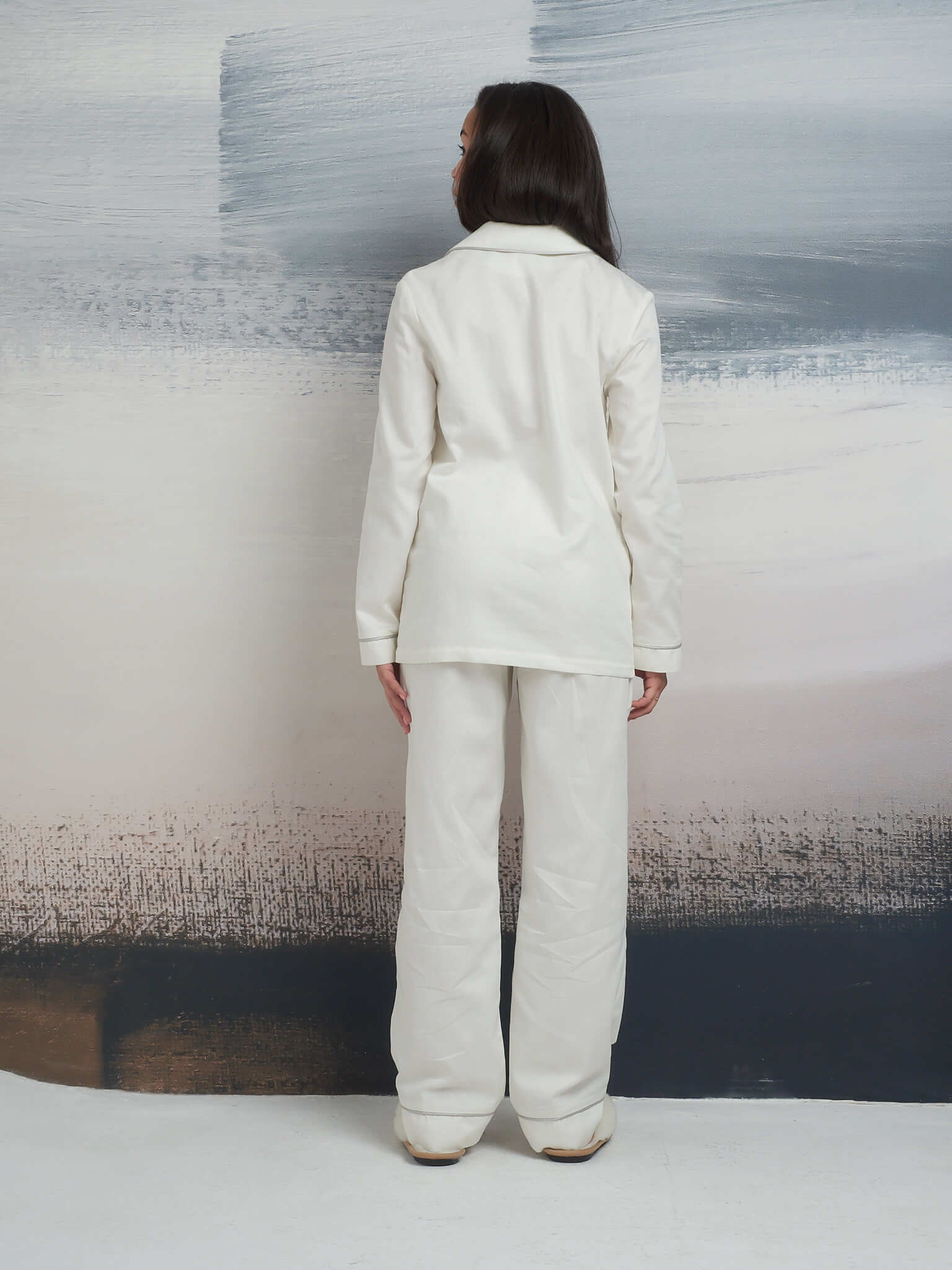 Пижама из хлопка: рубашка с длинным рукавом и брюки