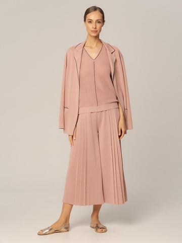 Женские брюки бежево-розового цвета из вискозы - фото 4
