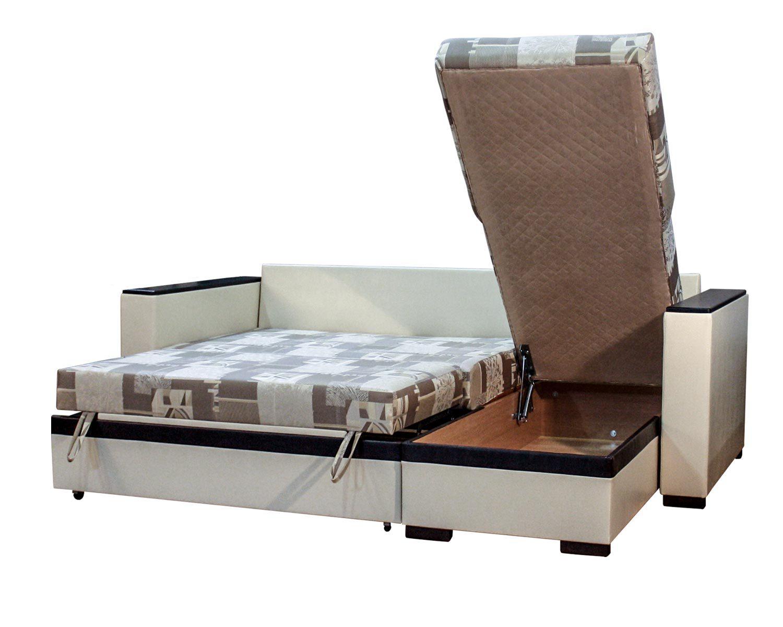 угловой диван-кровать Карелия-Люкс 2д2я без стола, ящик для белья