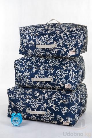 Подарочный набор из 3 сумок для хранения (темно-синий с узорами)