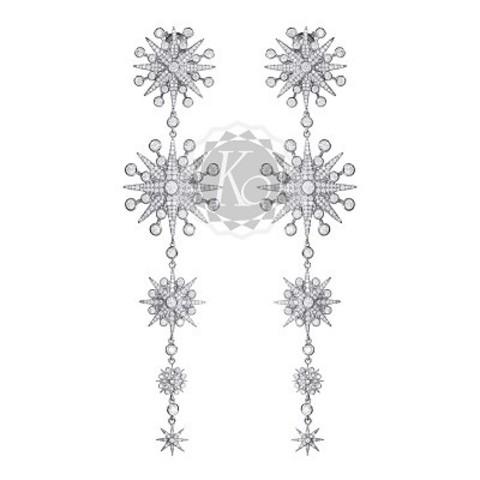 4624- Серьги FIVE STARS из серебра в стиле Ko Jewelry