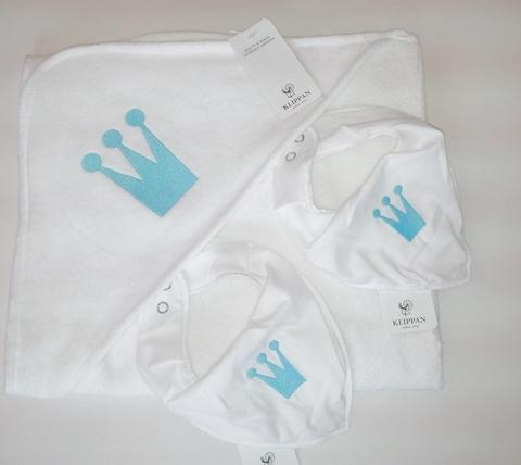Набор подарочный, KLIPPAN, Королевский, полотенце с капюшоном, 2 нагрудника, Белый, 75×80 см