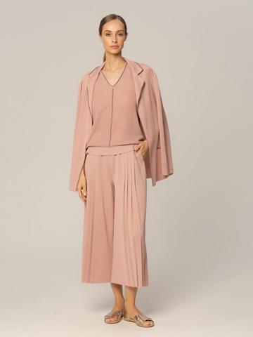 Женские брюки бежево-розового цвета из вискозы - фото 2