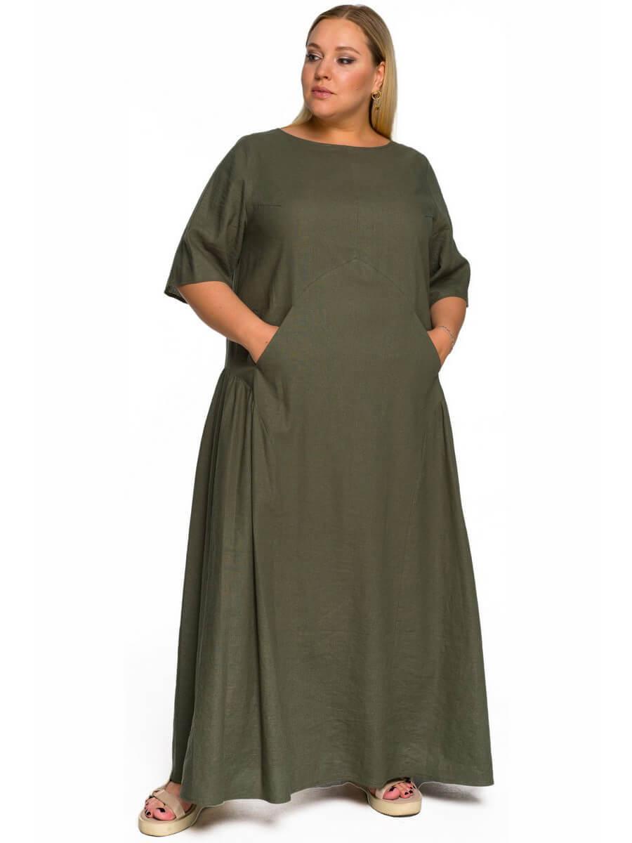 Длинное свободное платье из льна и вискозы