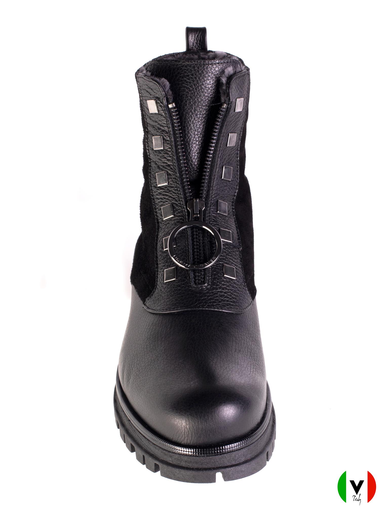 Зимние ботинки Norma J. Baker из кожи и замши 7427, артикул 7427, сезон зима, цвет чёрный, материал кожа, замша, цена 19 500 руб., veroitaly.ru