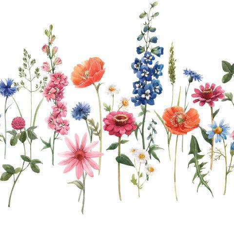 Горизонтальный цветочный принт