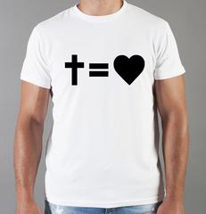 Футболка с принтом Крест, Бог есть Любовь, Христианство, Православие, Христианские символы, белая 0015