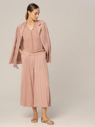 Женские брюки бежево-розового цвета из вискозы - фото 3