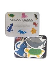 Развивающие пазлы в жестяной коробке набор - МОРСКИЕ ЖИТЕЛИ SHAPES PUZZLE 28 деталей, 14 видов морских обитателей для детей от 3-х лет